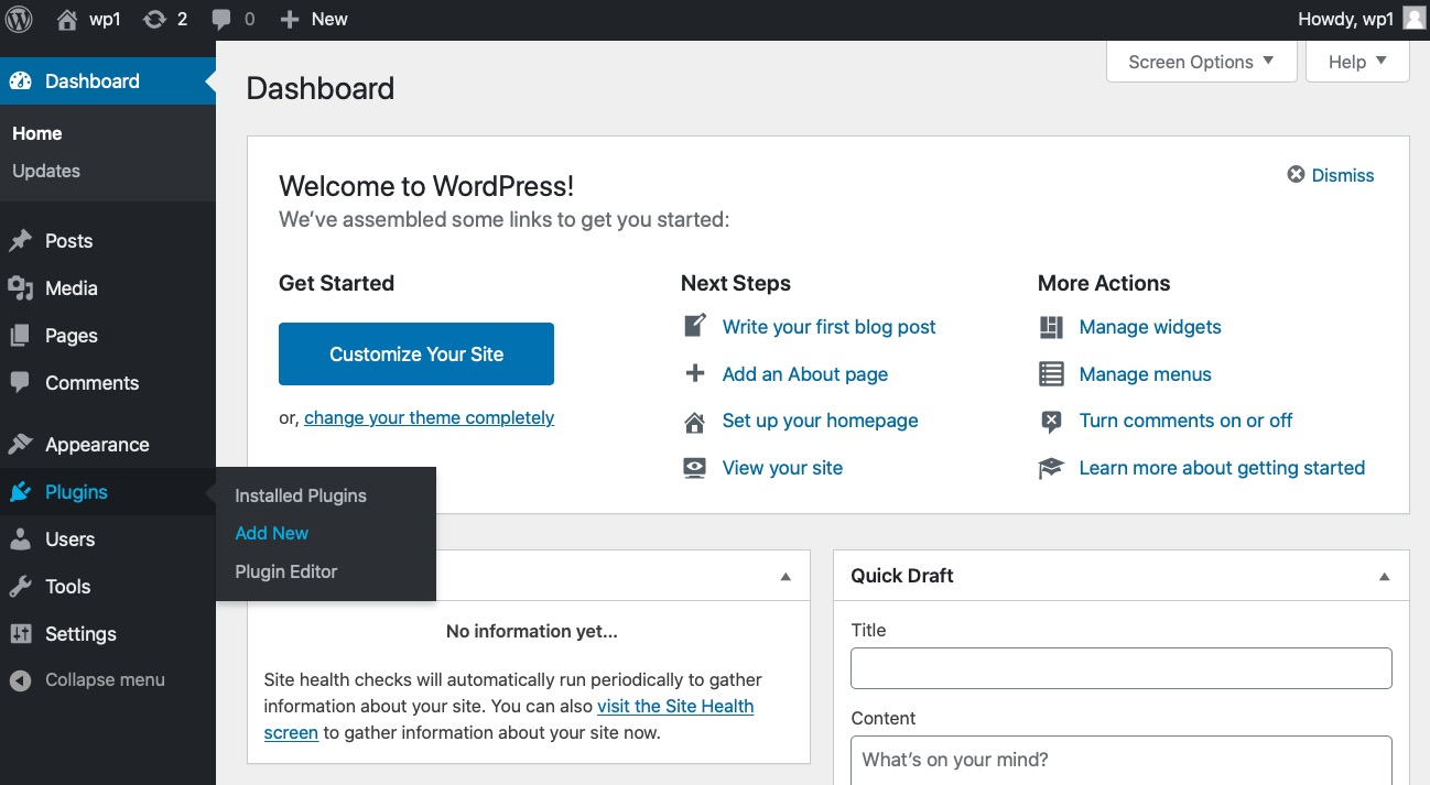 wordpress screenshot - install
