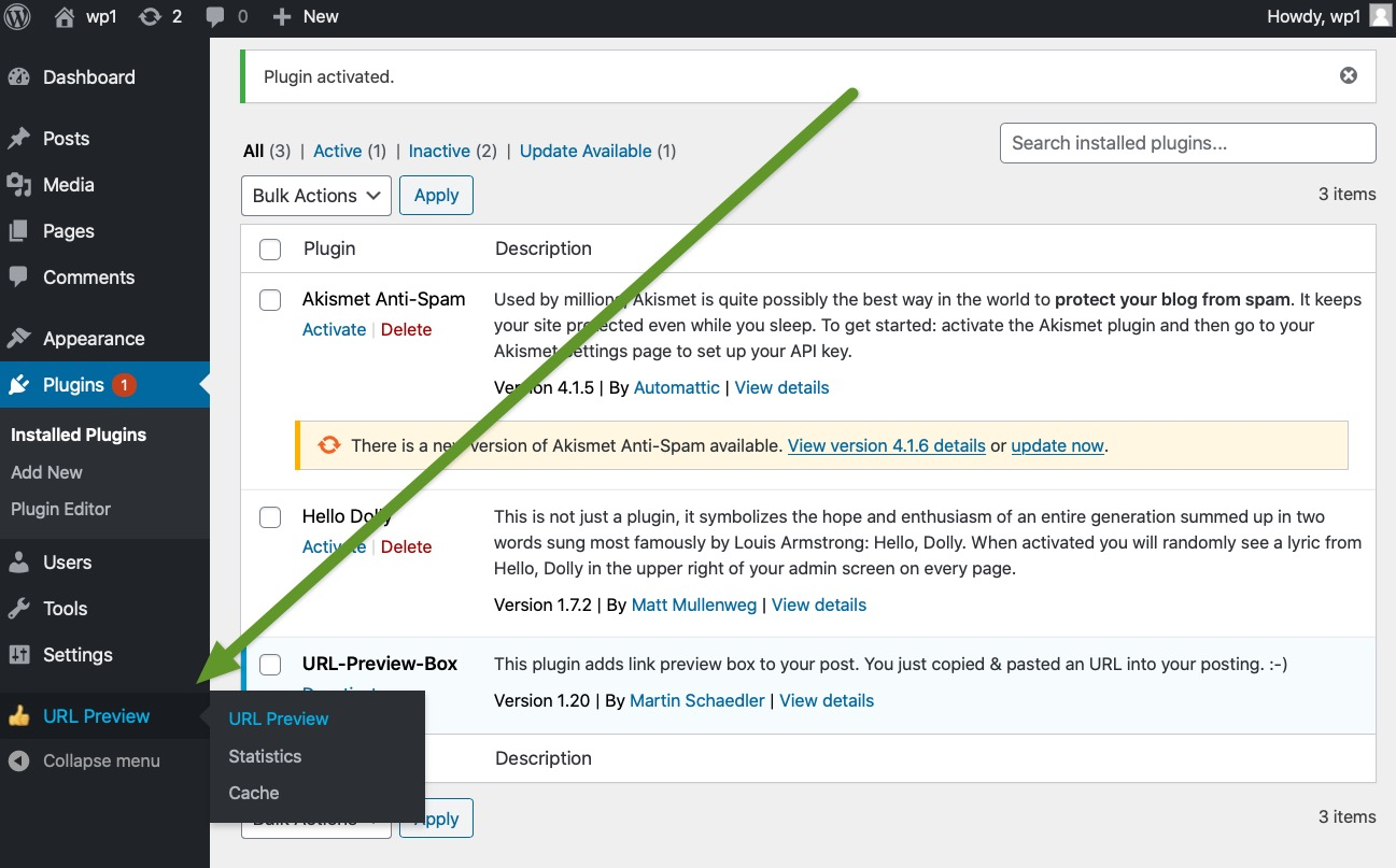 wordpress screenshot - use plugin